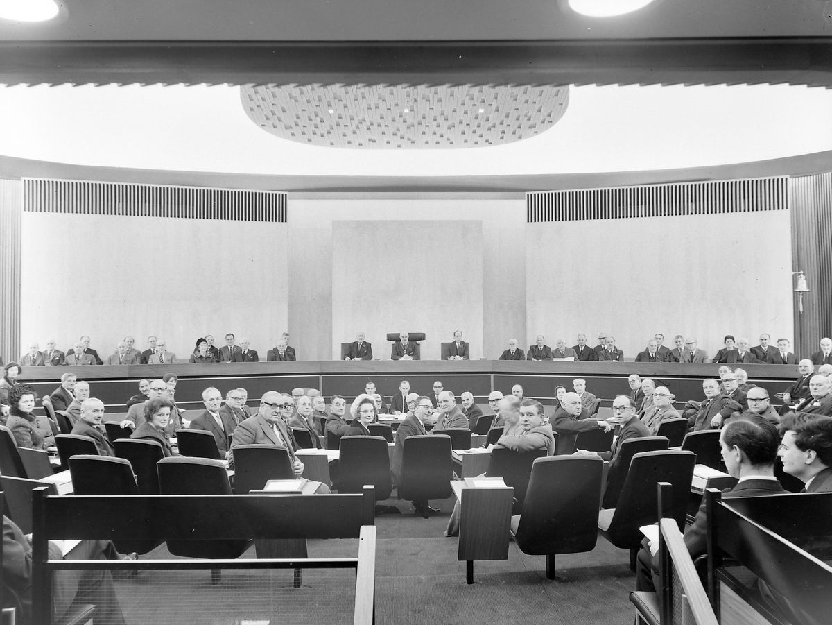 The first meeting of the county council in the new chamber in 1966.