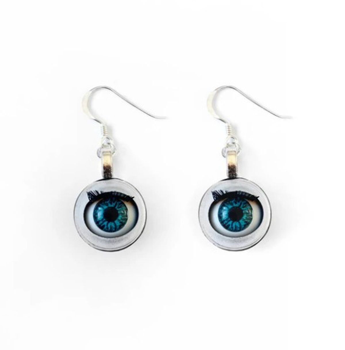 Small Blue Blinking Doll Eye Oddity Earrings