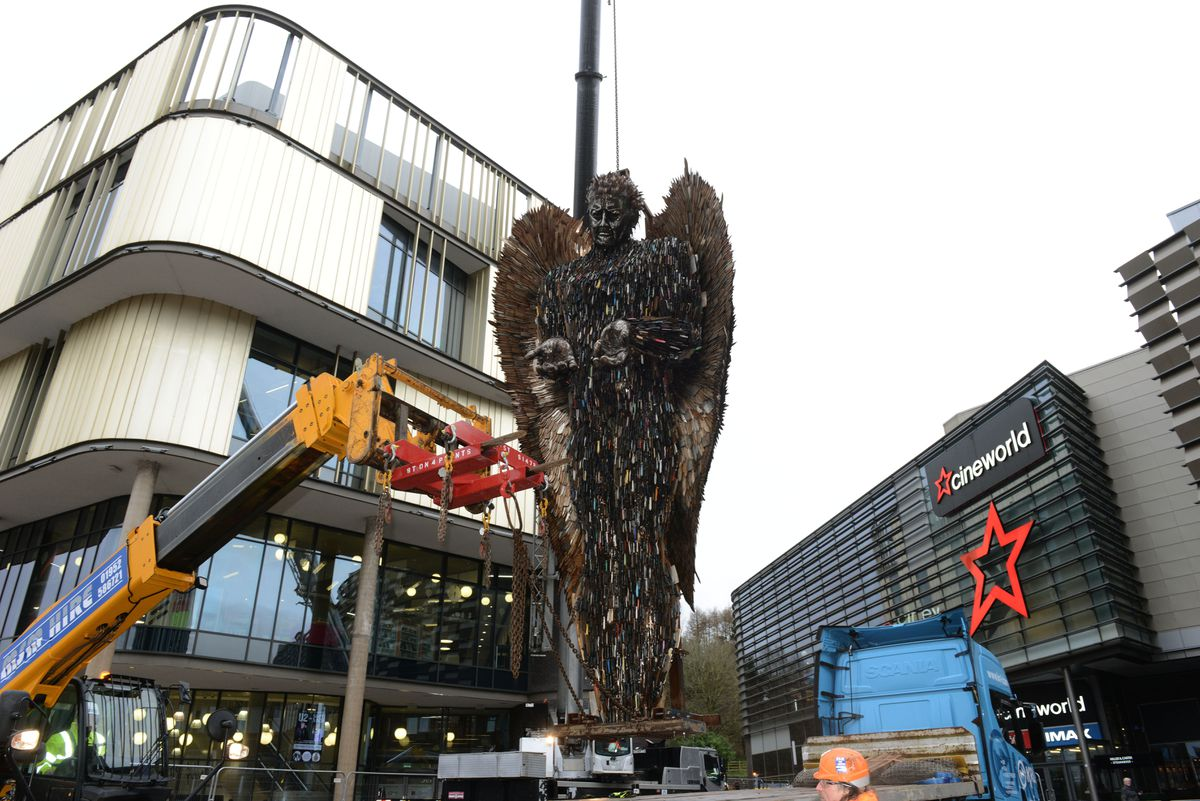 The Knife Angel arrives in Southwater
