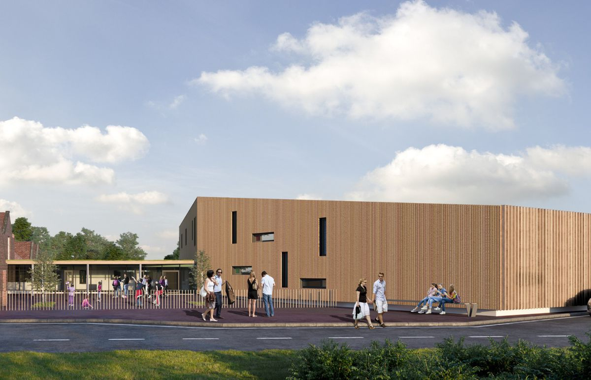 An artist's impression of the new part of the planned Welsh medium school for Welshpool