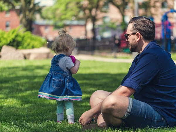 Foster parent in the park with a foster child