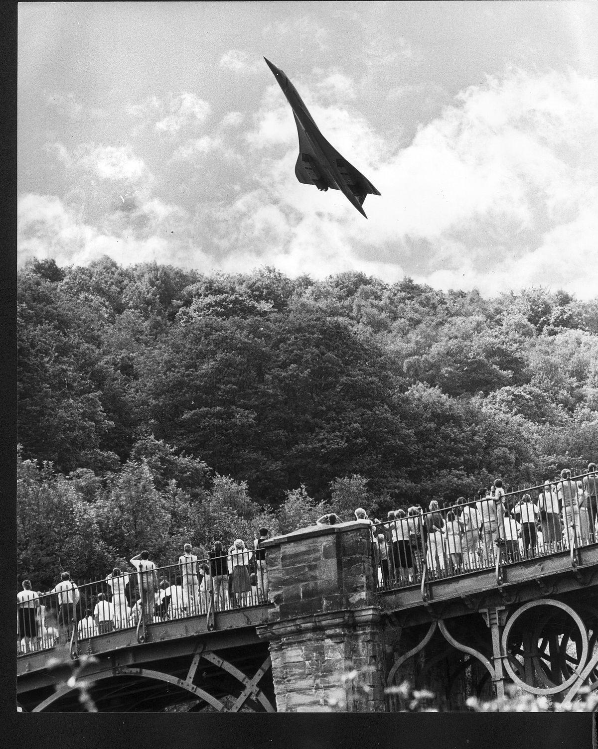 Concorde soars over the Iron Bridge on its way to Shrewsbury Flower Show in 1987. Picture: Bob Craig
