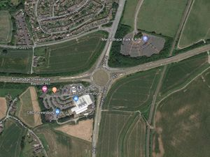 An aerial view of the Dobbies roundabout where the A5 meets the A49 and A5112