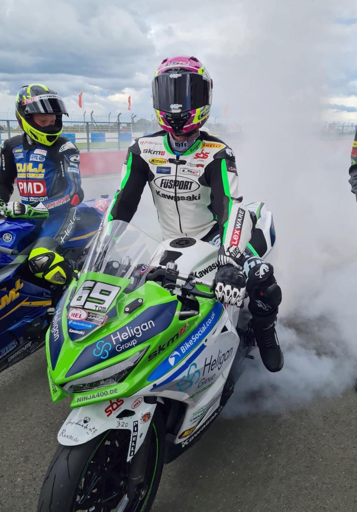 Booth-Amos performs a burnout after another race win. Picture: James Morris