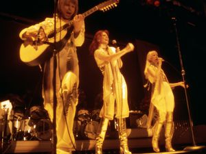 Abba performing at the Royal Albert Hall in London in 1977