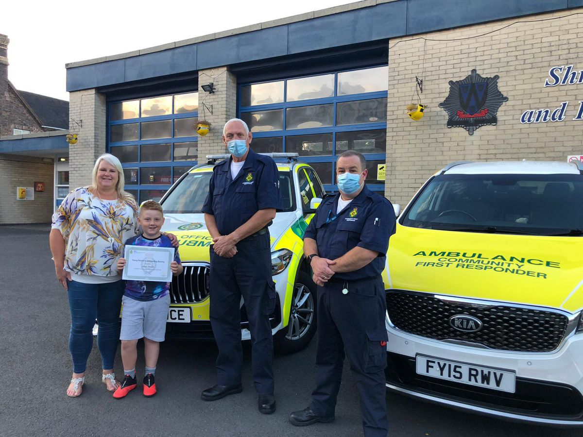 Jakob with his mum and Alveley First Responders