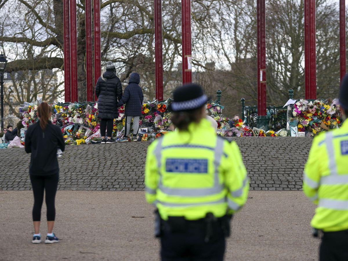 Police presence at a memorial to Sarah Everard