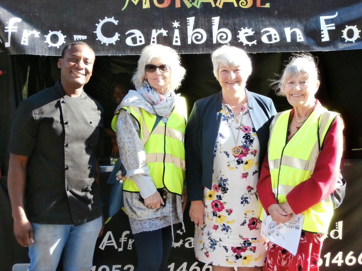 Afro-Caribbean Foods with Newport Mayor Councillor Lyn Fowler and organisers Karen and Margaret Woodcock