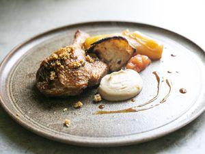 Confit duck leg, celeriac wedges, celeriac purée and braised chicory