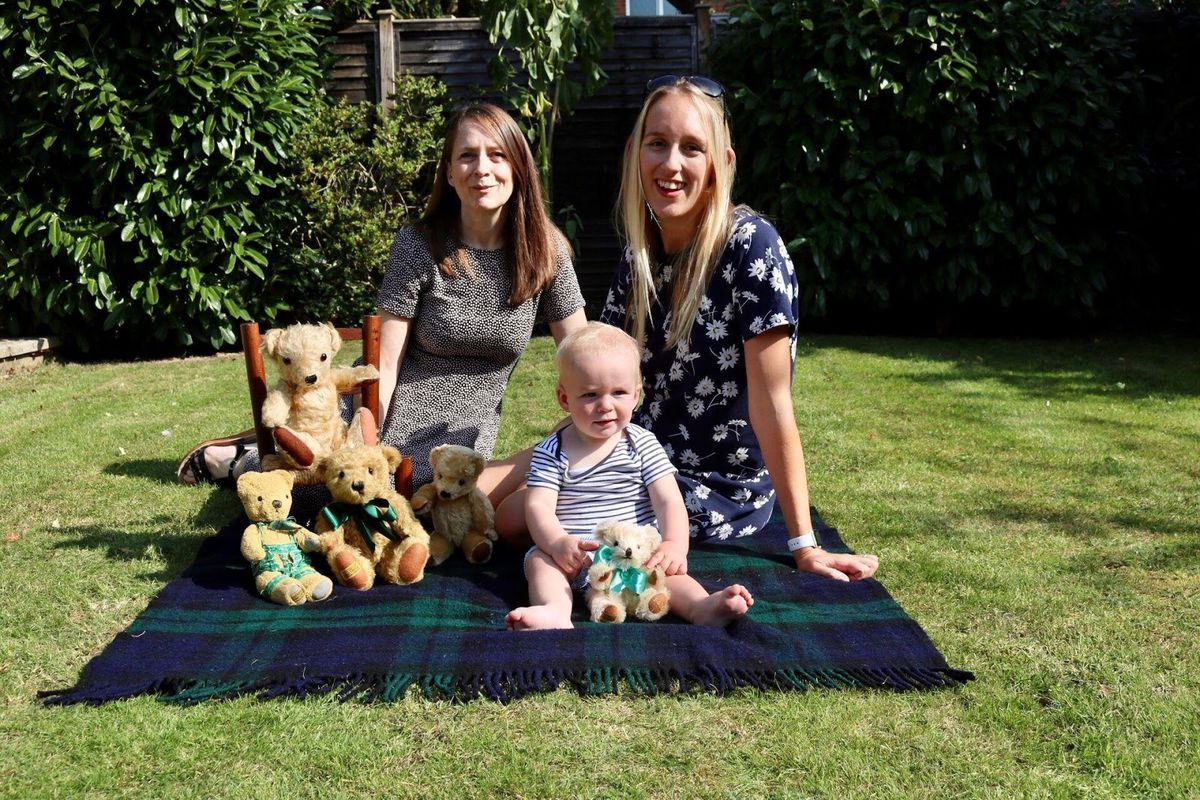 George Harwood and his family with some of their Merrythought bears