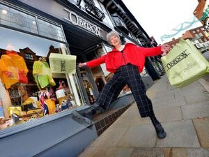 SHREW COPYRIGHT SHROPSHIRE STAR STEVE LEATH 17/11/2020..Pic in Shrewsbury , Wyle Cop, of Stacey Hill. She runs clothes shop: Oberon, and has been trying to work against the slowing of trade across the town by making funny little videos to post, one where she keeps jumping out..