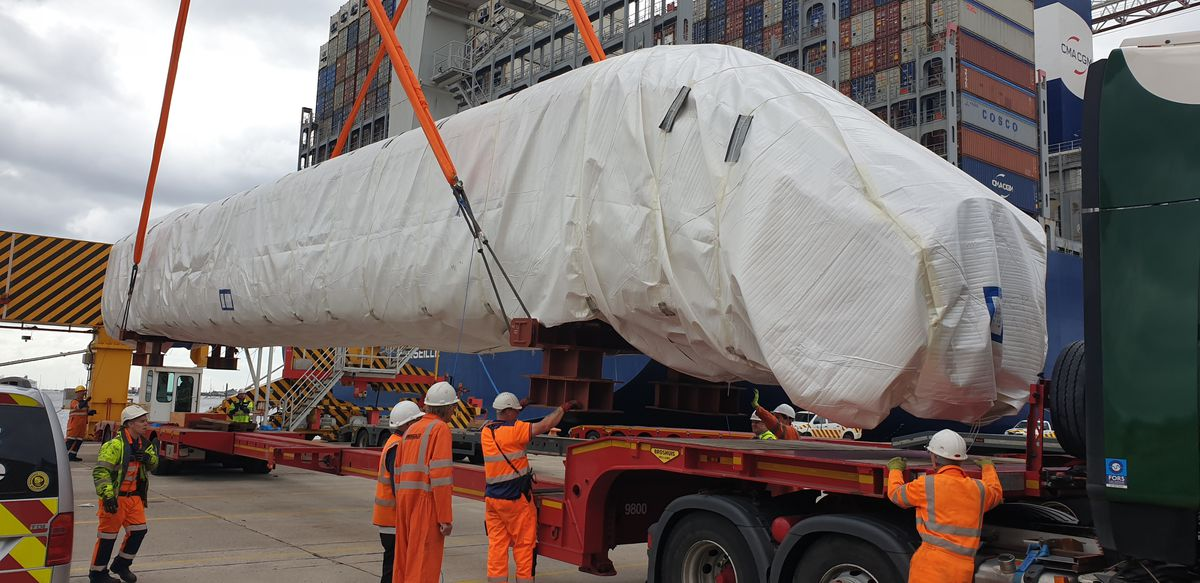 One of the new Class 805 bodyshells being unloaded at Southampton docks