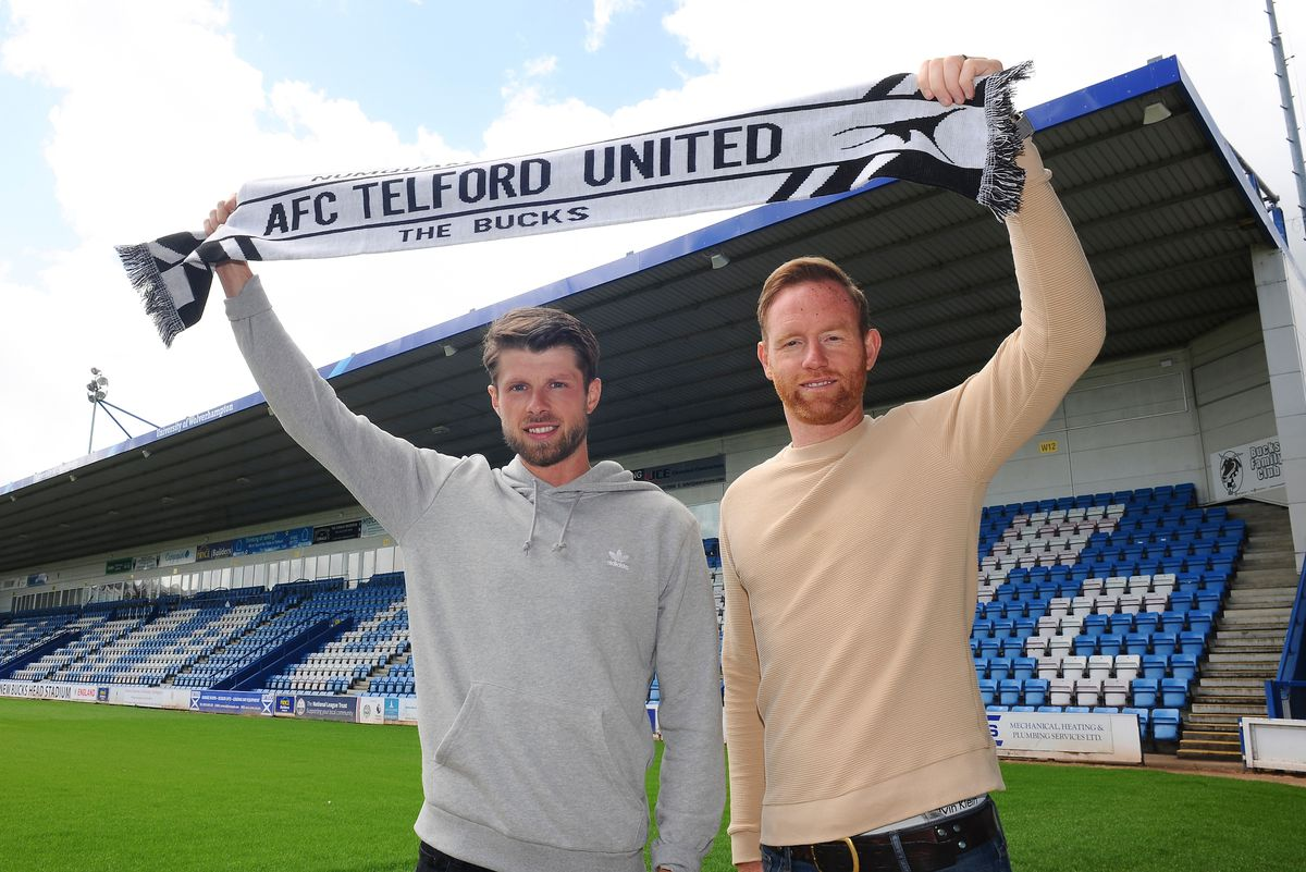 AFC Telford manager Gavin Cowan with new signing Jason Oswell at the New Bucks Head Stadium on Friday, June 6, 2020.Credit: Mike Sheridan/Ultrapress