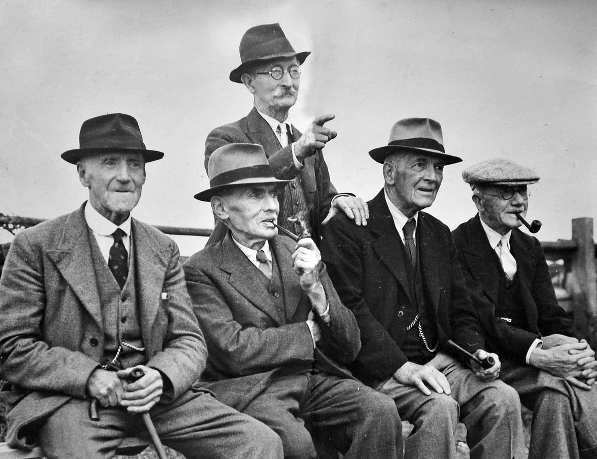 These are thought to be men in their 80s from Bridgnorth. Second from the left is undertaker Jim Howard.