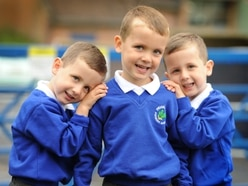Three times the excitement as Telford triplets start school
