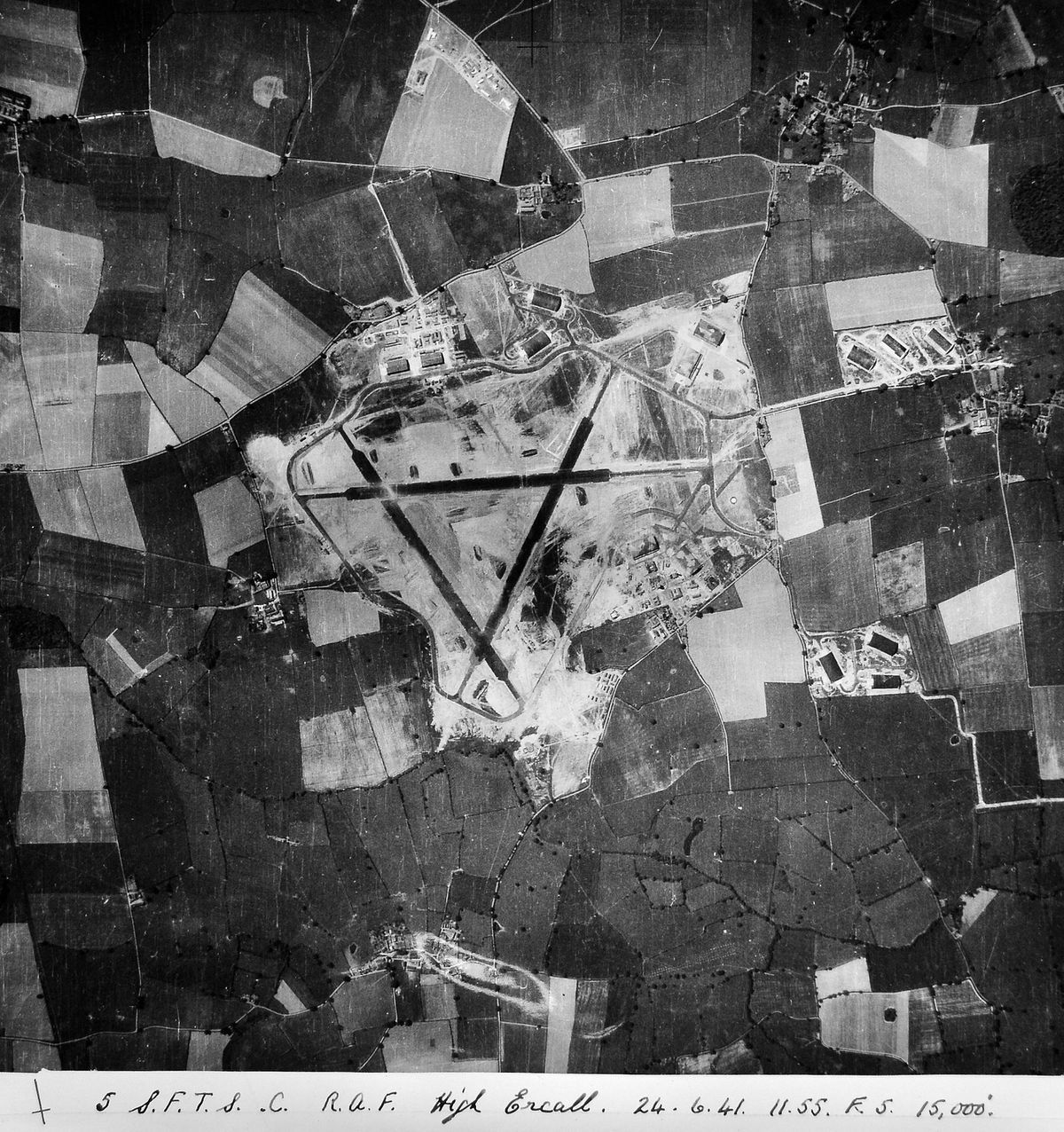 During the war Peter used to cycle at weekends to watch goings-on at High Ercall airfield – this aerial view, courtesy of Sir Michael Leighton, dates from June 1941.