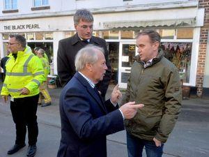 Environment Secretary George Eustice in Shrewsbury, with Shropshire Council Leader Peter Nutting and Shrewsbury MP Daniel Kawczynski