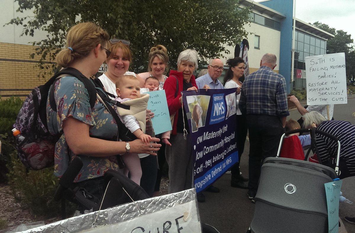 Maternity protesters gathered at Royal Shrewsbury Hospital