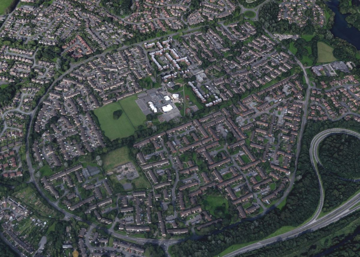 An aerial view showing Brookside in Telford. Photo: Google