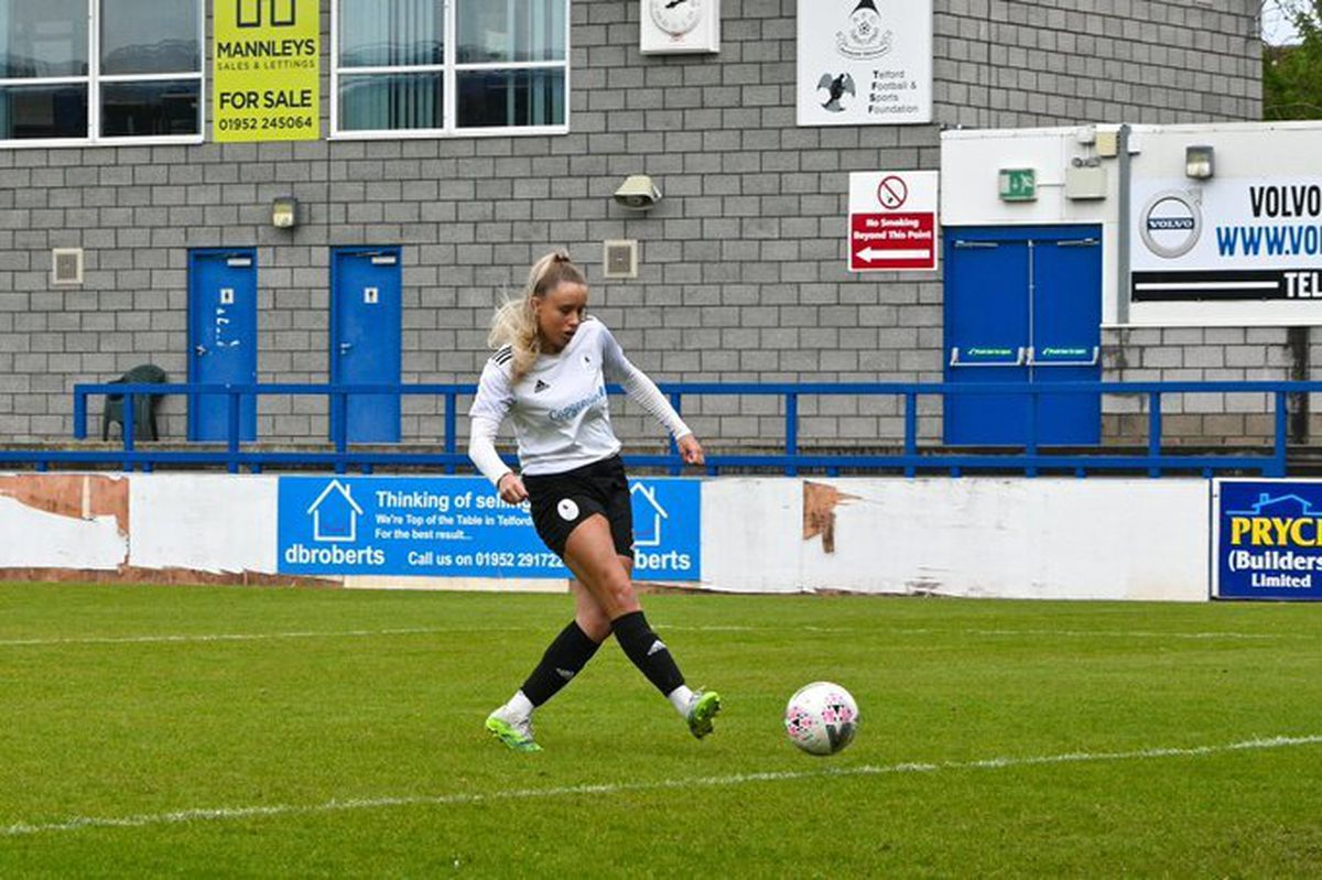 AFC Telford United Ladies striker Charlotte Budd. Pic: Carl Jones/Grifftersworld