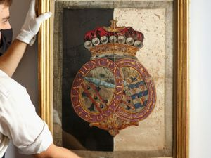 The silk hatchment from Nelson's funeral carriage