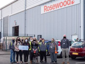 Representatives from Rosewood Pet Products and the Midlands Air Ambulance Charity at Rosewood Pet HQ, Telford