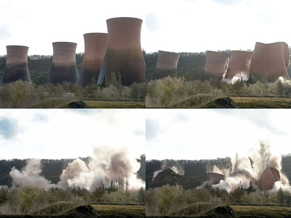 The moment the Ironbridge cooling towers came down