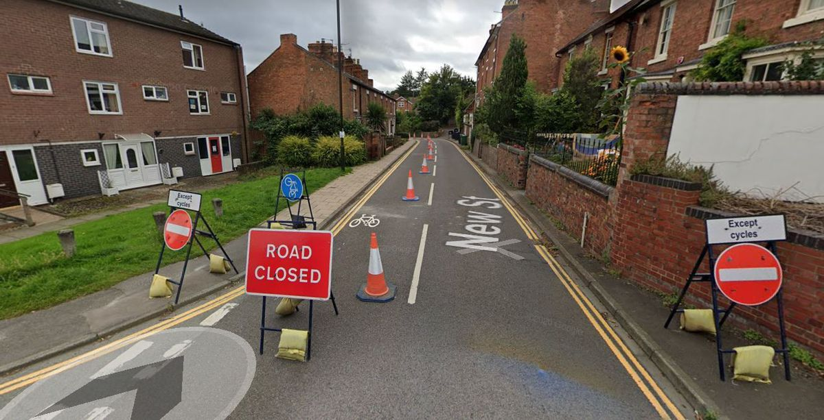 The temporary road layout on New Street. Picture: Google Street View.