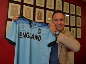 Michael Vaughan at Oswestry Cricket Club with his Cricket World Cup shirt