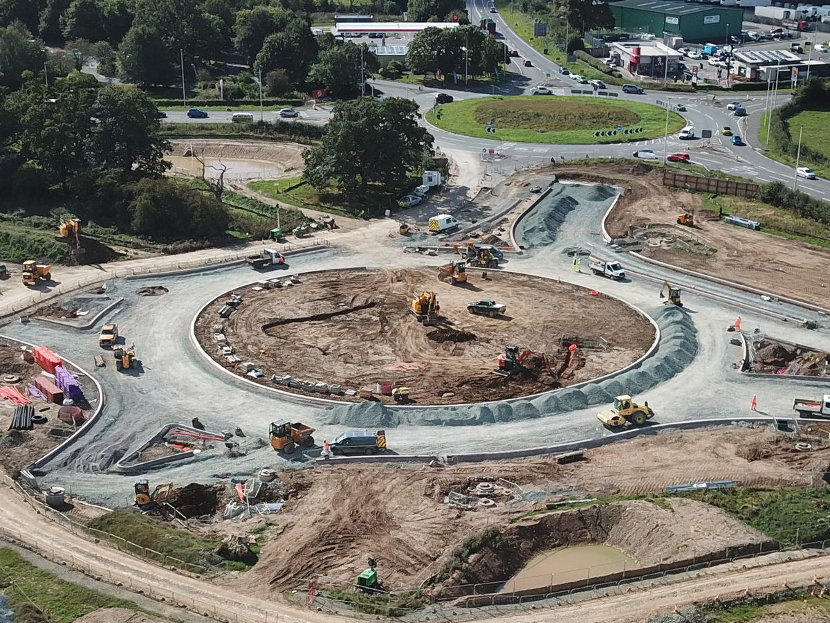 These images show the progress on changes to the Mile End junction outside Oswestry