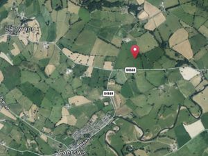 Powys Crematorium - the site in context to the villages of Caersws and Llanwnog.