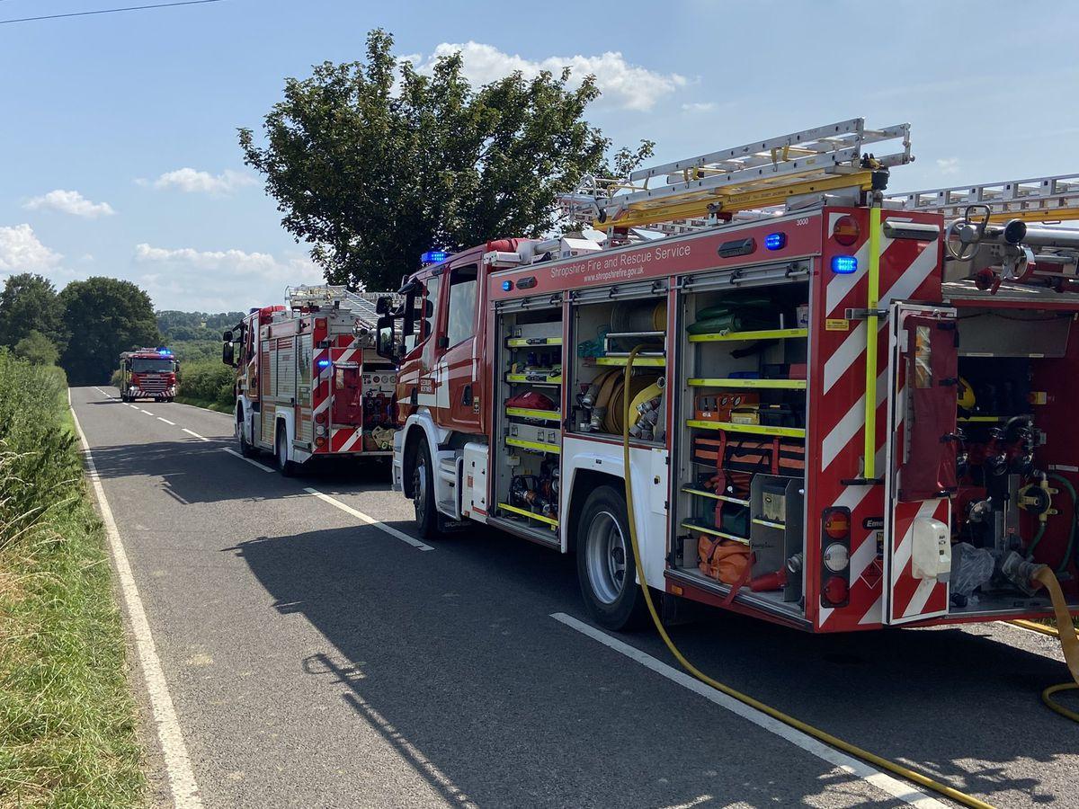 Fire crews dealing with a crop fire near Cleobury Mortimer. Photo: Shropshire Fire & Rescue