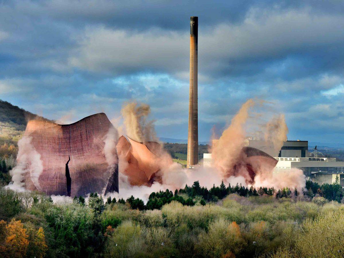 Ironbridge Power Station cooling towers demolition last year