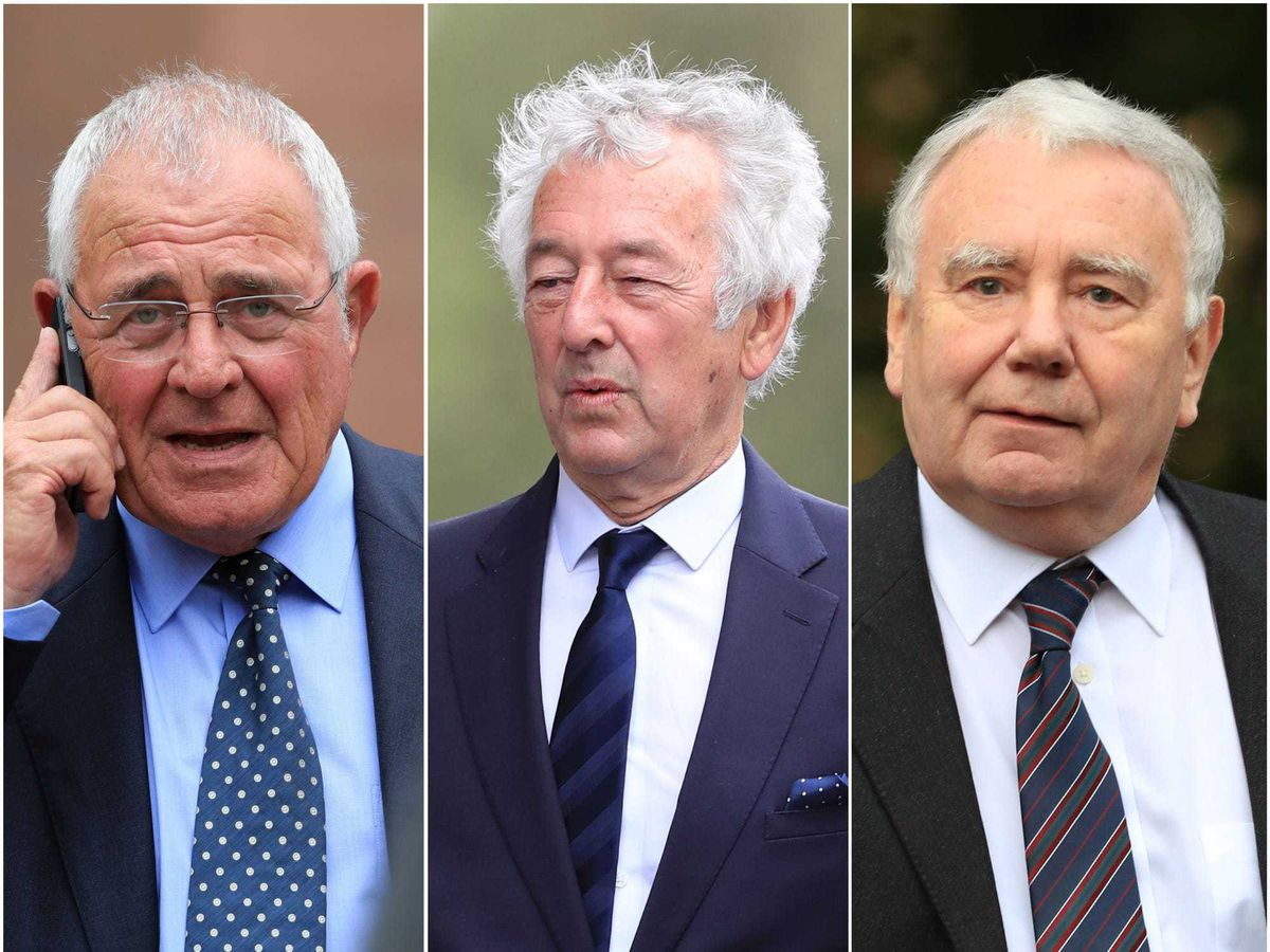 Left to right, Donald Denton, Alan Foster and Peter Metcalf are due to stand trial