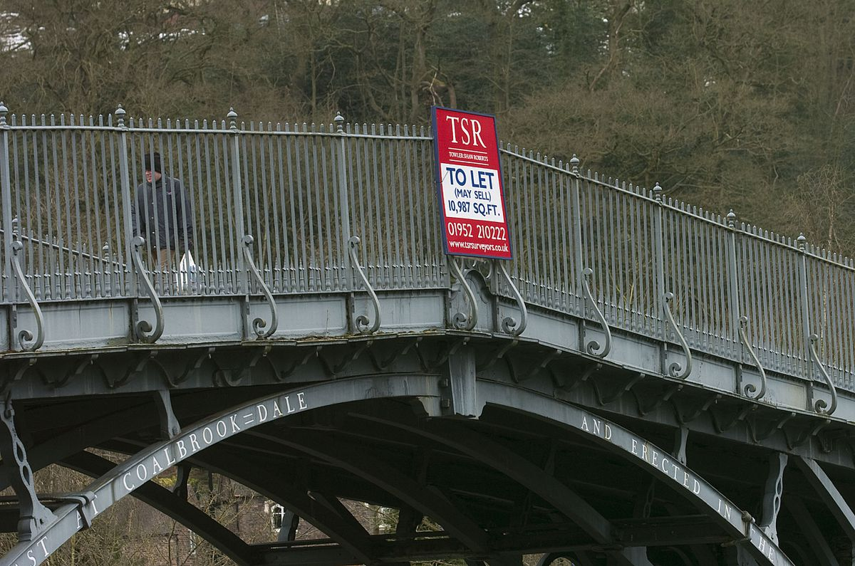 Turn back the clock to this day in 2013 and this To Let sign had been placed on the world famous Iron Bridge over the River Severn. And if you look at the date you'll realise why this was a one-day only offer.
