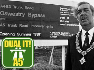 Councillor Colin Bain, the Oswestry mayor at the time, at the official opening of the town's bypass