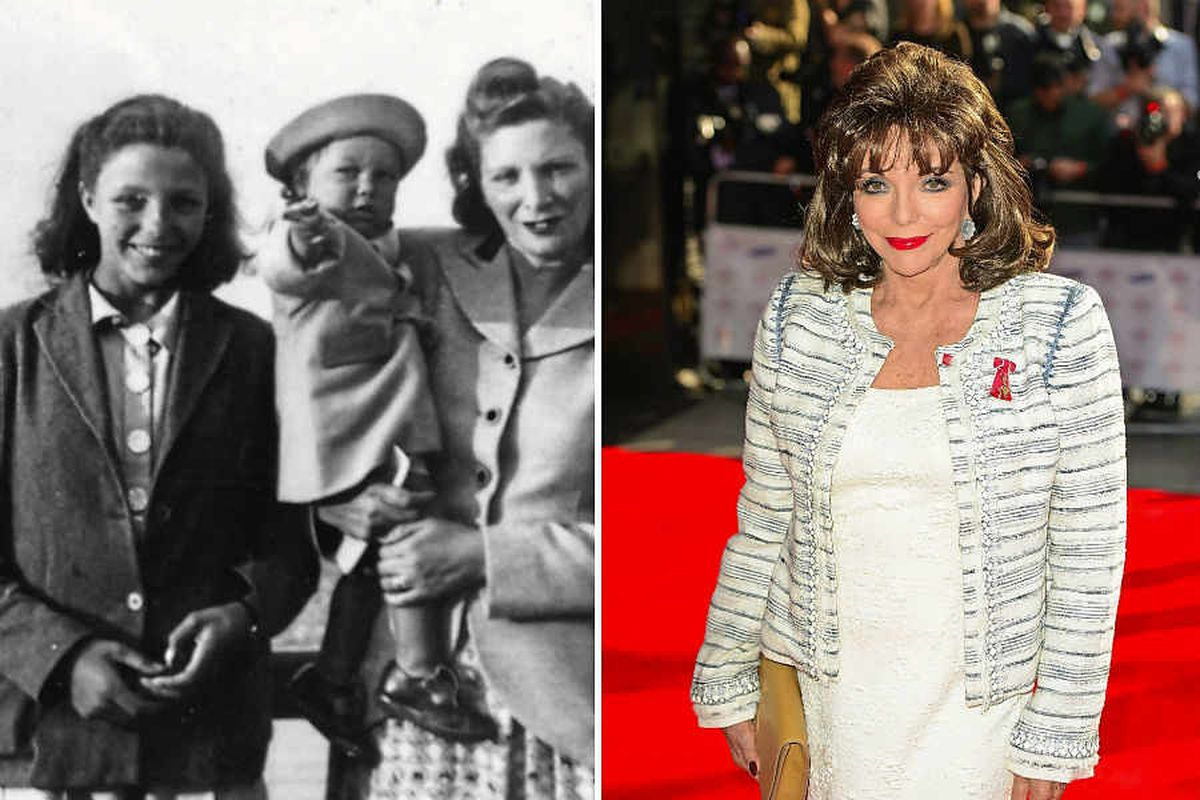 Joan Collins, left, as a teenager, and her now supporting the Barnardo's campaign