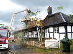 Forty firefighters tackle thatched roof blaze near Craven Arms