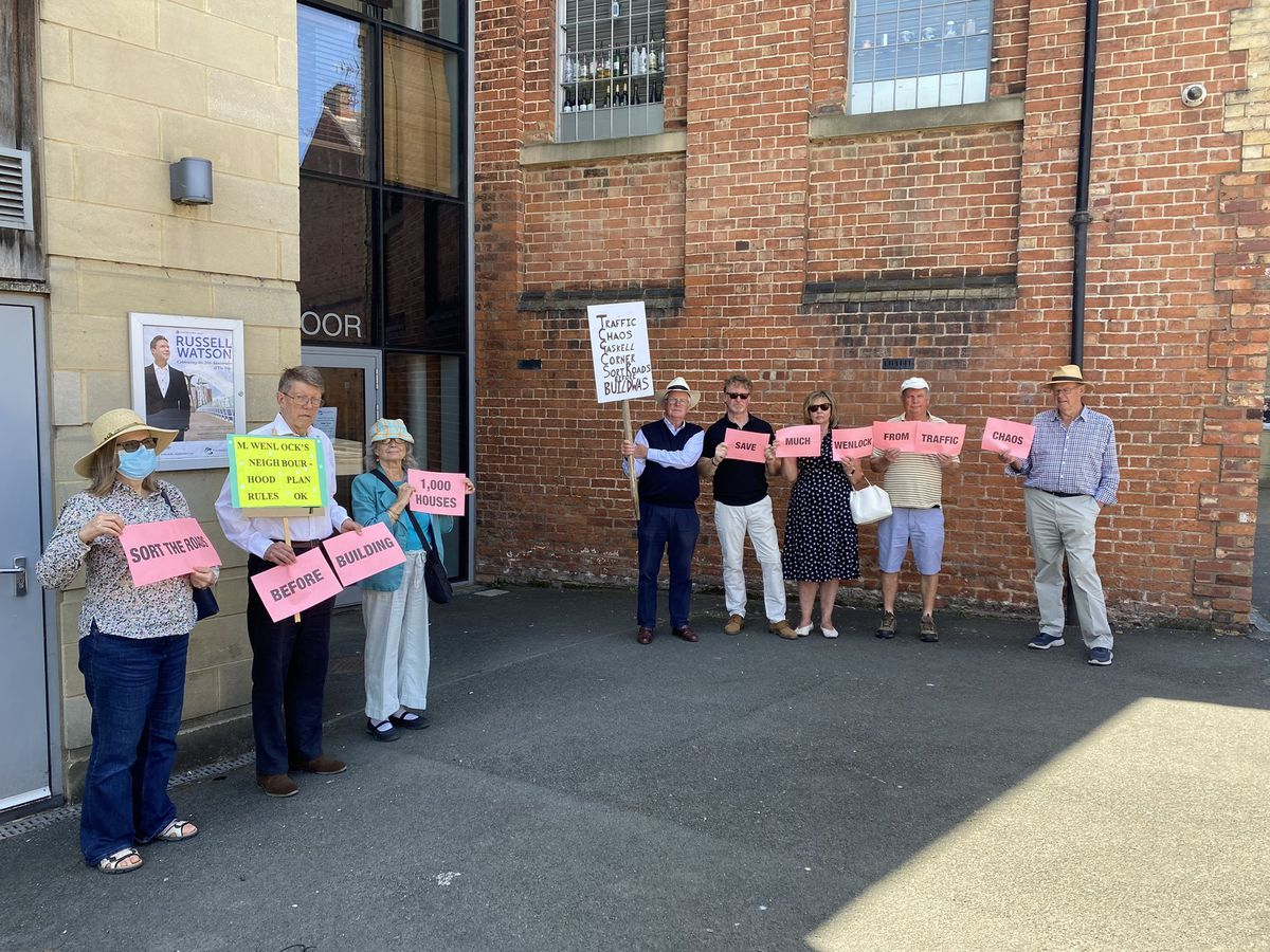Protestors against the Ironbridge Power Station site redevelopment ahead of the planning meeting in Shrewsbury. Photo: Keri Trigg.