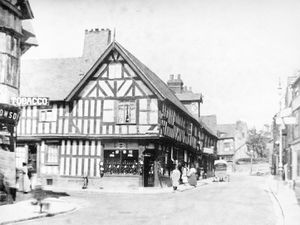 Disappeared Frankwell. This photo is from the collection of Shrewsbury historian and author David Trumper, but came originally from Dr Tim Mear. David reckoned it was taken around 1910, and certainly after 1907 because the Co-op is in the timber framed-building on the corner, which used to be the String of Horses pub. This building was eventually dismantled in 1970 to make way for Frankwell's big roundabout and was re-erected at Avoncroft buildings museum near Bromsgrove. J. F. Owen is written on the back of the cart – that was John Francis Owen.
