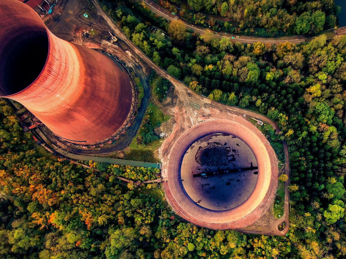 An aerial view of the cooling towers at Ironbridge which will soon be demolished. Photo: David Street Photography