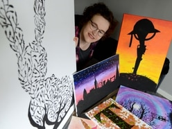 Artist teaches herself to paint with weaker hand after brain tumour and stroke
