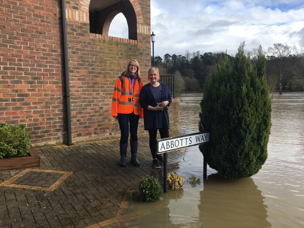 Shropshire Council officers and staff volunteers have been door knocking in Bridgnorth, Wharf Caravan Park and Coalport to give advice and information to residents and businesses who may be affected by flooding. Photo: Shropshire Council.