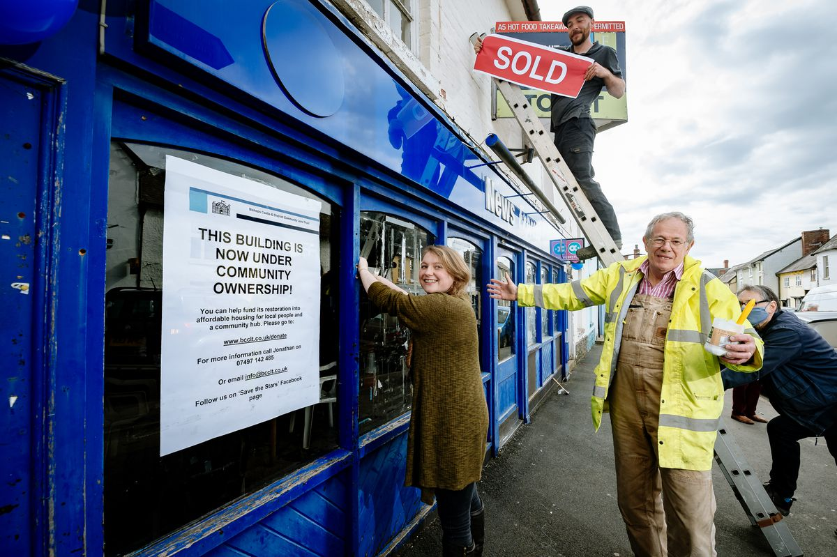A group of Bishop's Castle organisations are hoping to transform the old News Express building into a Community Hub. In Picture L>R: Hope Robson, Laurence Hitchcock and Jonathan Brown