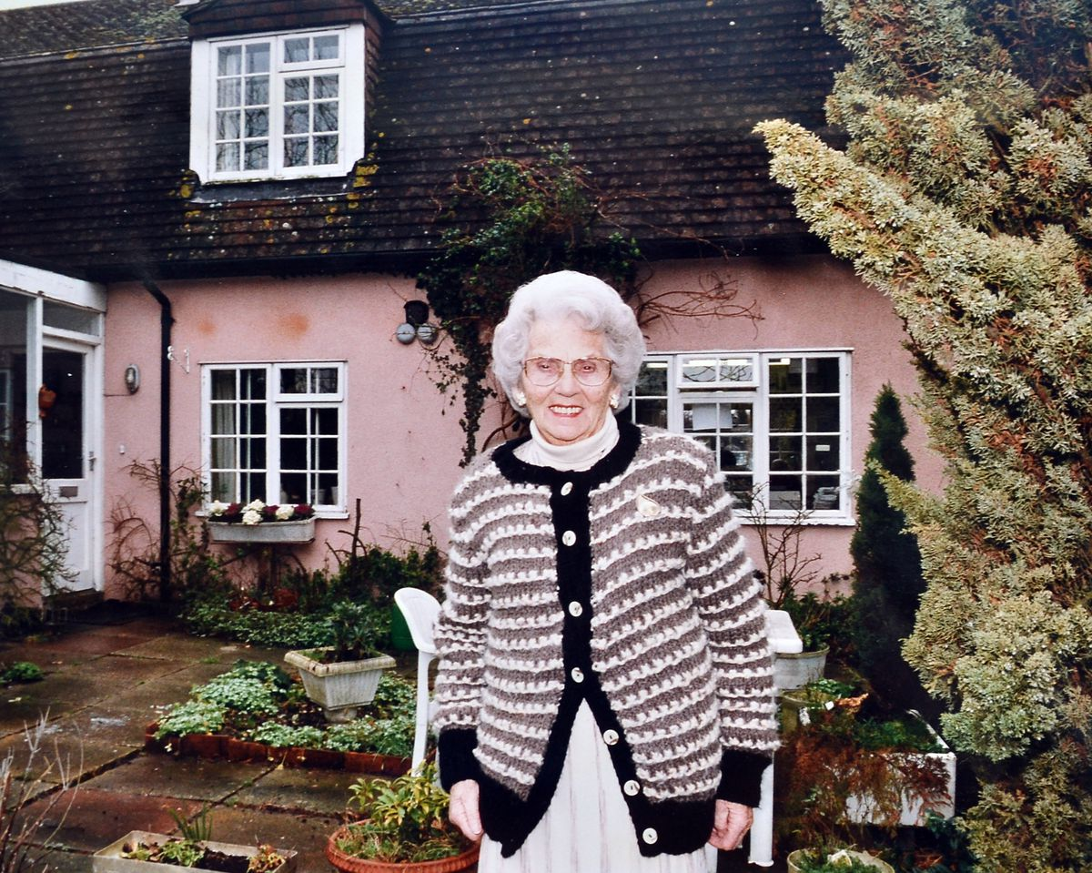 Mary Whitehouse outside her Essex home in the early 1990s.