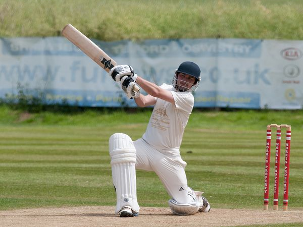 Joe Yapp hits a boundary for Cound against Madeley