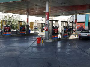 A petrol station is empty because the pumps are out of service, in Tehran, Iran