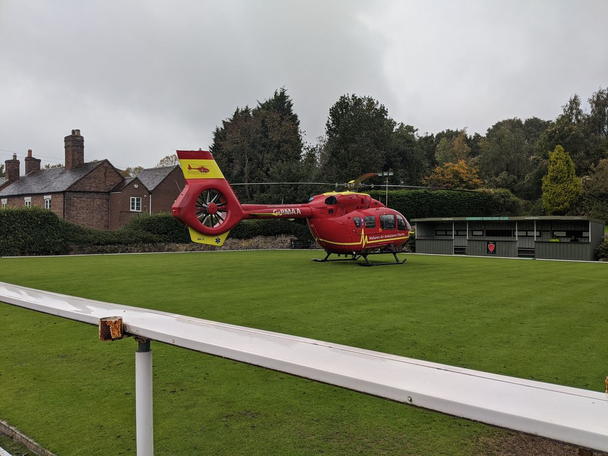 An air ambulance landed at Horsehay Village Hall