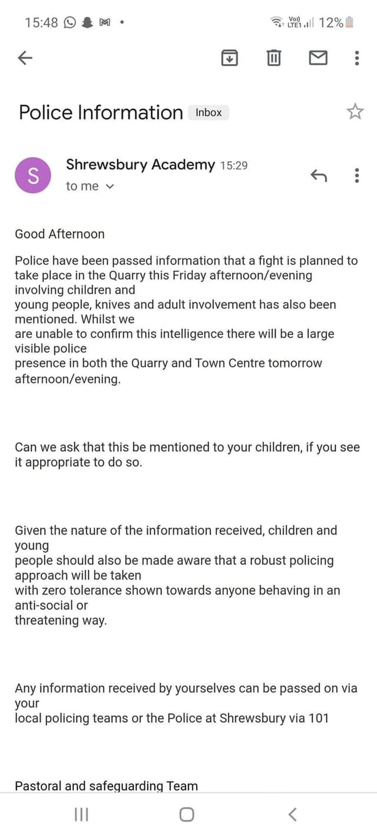 The message which was sent out to parents