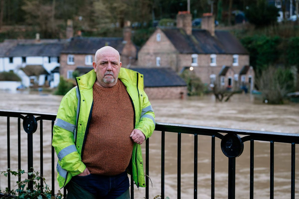 Ironbridge flooding. In Picture: Vic Haddock with his home/holiday cottage in the background